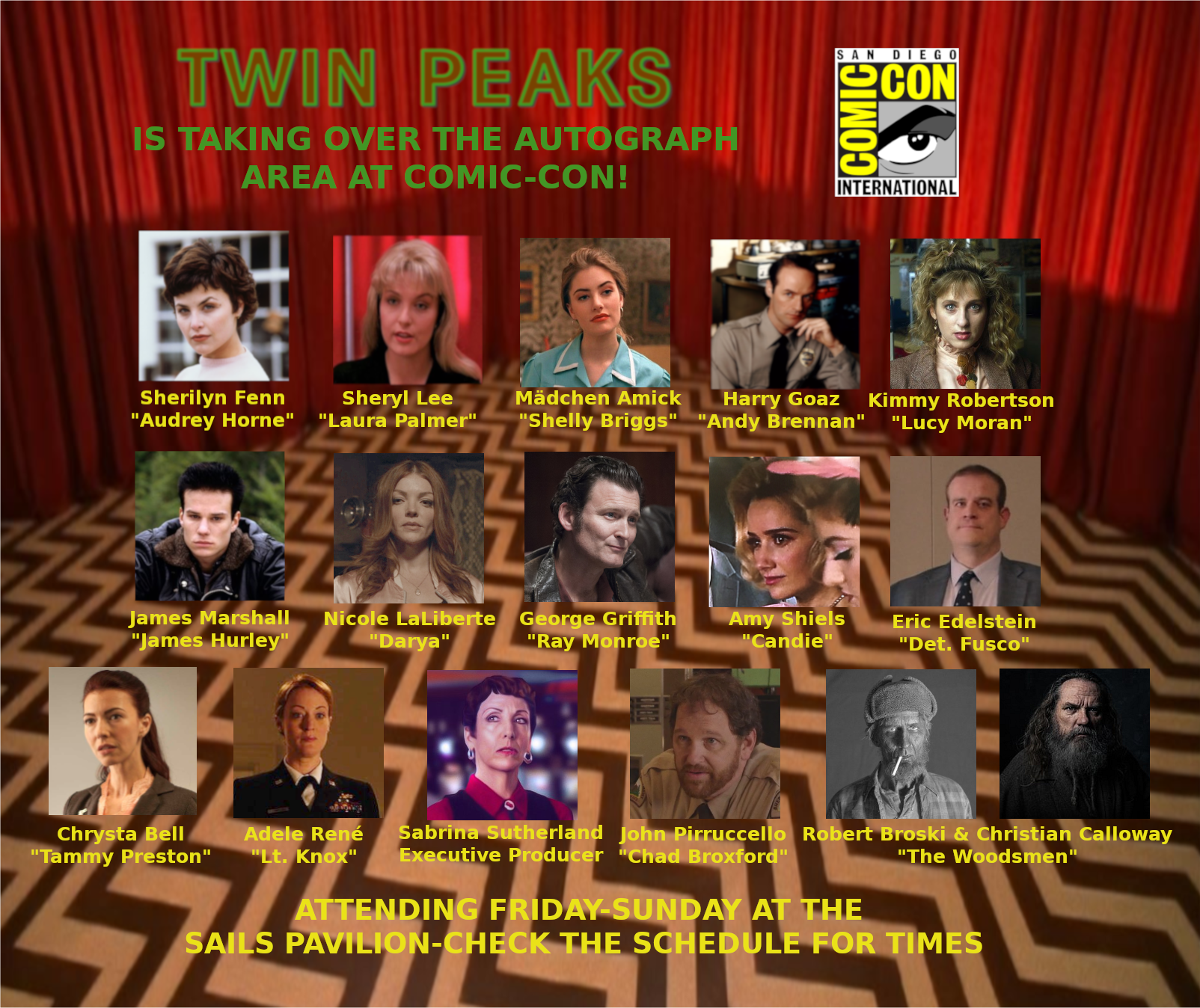 Exclusive: Twin Peaks Cast Signing Times For Autograph Area In Sails
